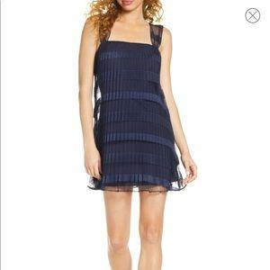 Ali and Jay City views navy blue pleated dress